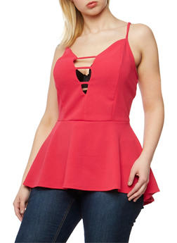 Plus Size Gauze Knit Caged V Neck Peplum Top - 0912072246210