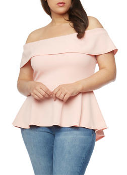 Plus Size Ruffled Off the Shoulder Peplum Top - 0912072246211