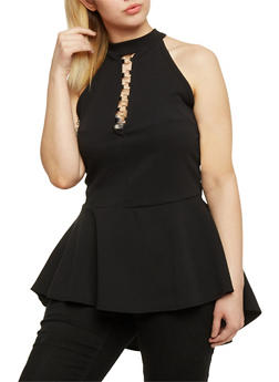 Plus Size Textuered Knit Caged Keyhole Peplum Top - 0912072246212