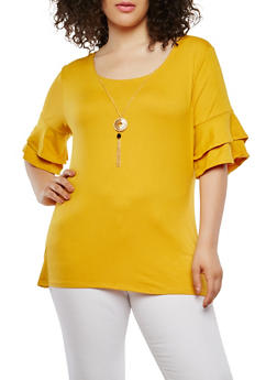 Plus Size Tiered Sleeve Top with Necklace - 0912072246748