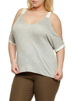 Plus Size Cold Shoulder Top with Contrast Trim - 0912073090071