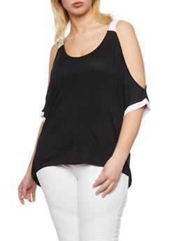Plus Size Cold Shoulder Top with Contrast Trim - BLACK/WHITE - 0912073090071