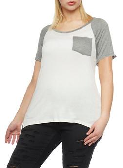 Plus Size Caged Sleeve Raglan T Shirt - 0912073090583