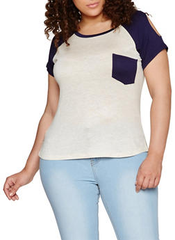 Plus Size Cold Shoulder Color Block T Shirt - 0912073095840