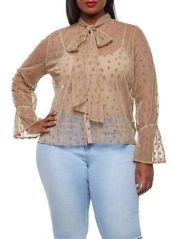 Plus Size Polka Dot Mesh Shirt - 0912074280404