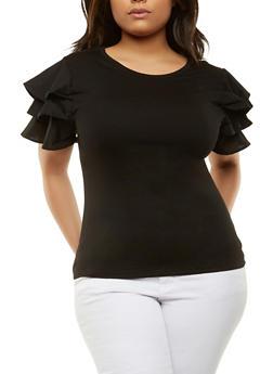 Plus Size Tiered Sleeve Tee - 0912074280458