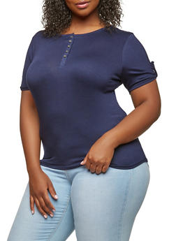 Plus Size Button Detail Tee - 0912074281155