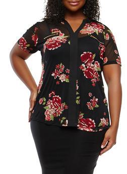 Plus Size Floral Mesh Zip Trim Top - 0912074281604