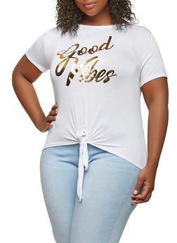 Plus Size Good Vibes Graphic Tee - 0912074284003