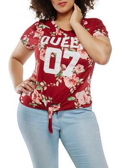 Plus Size Graphic Floral Tie Front Top - 0912074284007