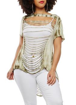 Plus Size Slashed Tie Dye Top - 0912074287142
