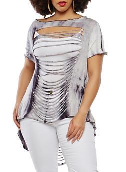 Plus Size Laser Cut Tie Dye Top - 0912074287143