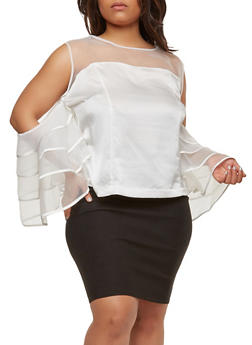 Plus Size Mesh Cold Shoulder Top - 0912074287209
