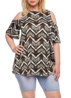 Plus Size Cold Shoulder Top with Tie-Dye Chevron Stripes - 0915038346145