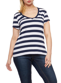 Plus Size Striped V Neck T Shirt - 0915054260001