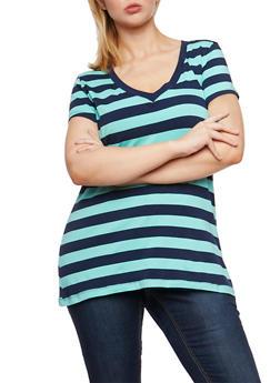 Plus Size Striped V Neck T Shirt - 0915054260001