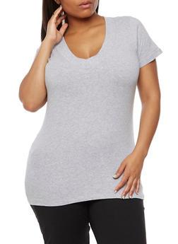 Plus Size Short Sleeve V Neck T Shirt - 0915054265056
