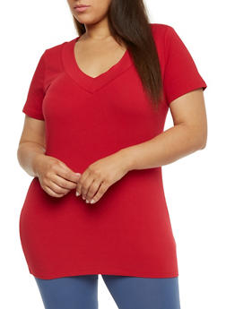 Plus Size Short Sleeve V Neck T Shirt - 0915054265056