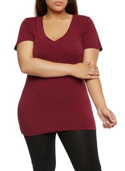 Plus Size Short Sleeve V Neck T Shirt - BURGUNDY - 0915054265056