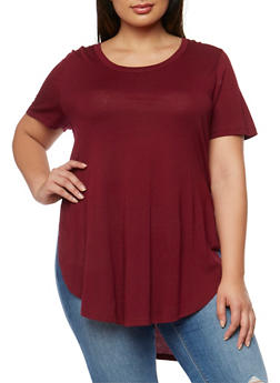 Plus Size Solid Short Sleeve T Shirt with High Low Hem - BURGUNDY - 0915054266941