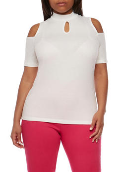 Plus Size Rib Knit Cold Shoulder Top with Keyhole - IVORY  OFF WHITE - 0915054269755