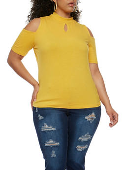 Plus Size Rib Knit Cold Shoulder Top with Keyhole - NEW MUSTARD - 0915054269755