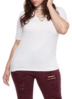 Plus Size Short Sleeve Caged Choker Top - IVORY  OFF WHITE - 0915054269756
