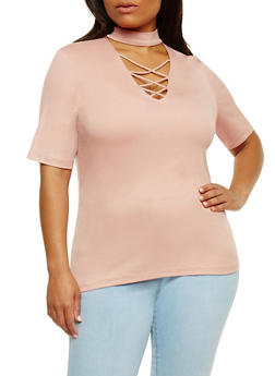 Plus Size Short Sleeve Caged Choker Top - 0915054269756