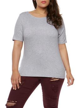 Plus Size Rib Knit Short Sleeve Top - 0915054269757
