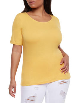 Plus Size Rib Knit Short Sleeve Top - NEW MUSTARD - 0915054269757