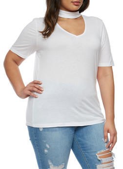 Plus Size Short Sleeve V Neck Choker Top - 0915054269759