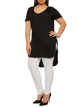 Plus Size V-Neck Top with High-Low Hem - 0915058754590