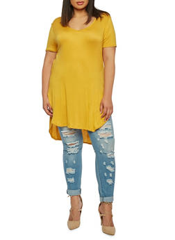 Plus Size V-Neck High-Low Top - 0915058754590