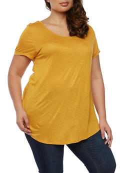 Plus Size Short Sleeve Top with Caged Back - MUSTARD - 0915058930284