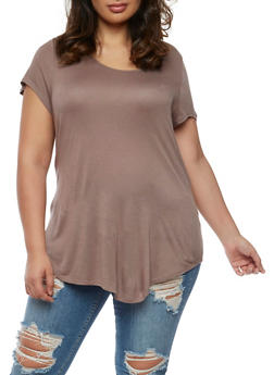 Plus Size Short Sleeve Top with Caged Back - 0915058930284