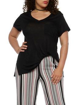 Plus Size V Neck T Shirt - 0915058930804