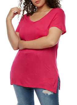 Plus Size V Neck T Shirt - 0915058930804