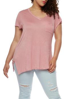 Plus Size V Neck T Shirt - BLUSH - 0915058930804