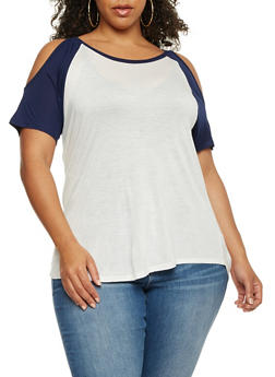 Plus Size Cold Shoulder Raglan Top - 0915058930806