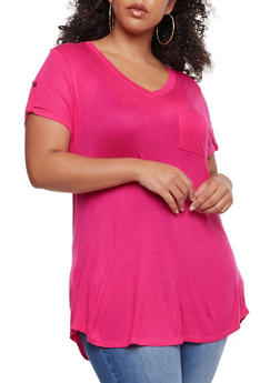 Plus Size V Neck Top with Tabbed Sleeves - 0915058930807