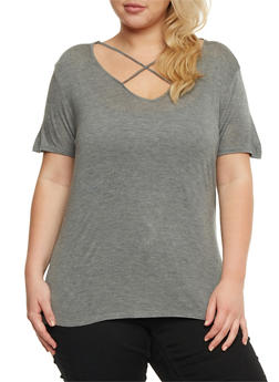 Plus Size Caged Short Sleeve Top - 0915058930808
