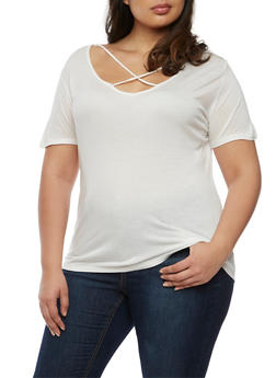 Plus Size Caged Short Sleeve Top - WHITE - 0915058930808