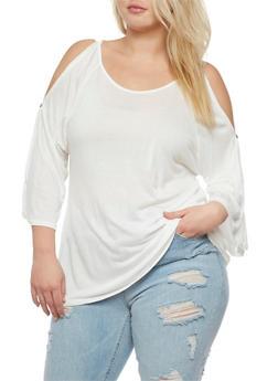 Plus Size Cold Shoulder Cutout Top - WHITE - 0915058930809