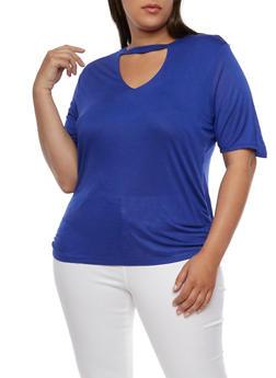 Plus Size Short Sleeve V Neck Choker Top - 0915058930902
