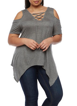 Plus Size Lace Up Cold Shoulder Asymmetrical Top - HEATHER  GRAY - 0915058930903
