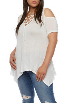 Plus Size Lace Up Cold Shoulder Asymmetrical Top - WHITE - 0915058930903