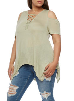 Plus Size Lace Up Cold Shoulder Asymmetrical Top - SAGE - 0915058930903