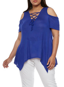 Plus Size Lace Up Cold Shoulder Asymmetrical Top - RYL BLUE - 0915058930903