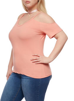 Plus Size Short Sleeve V Neck Cold Shoulder Top - 0915060580005