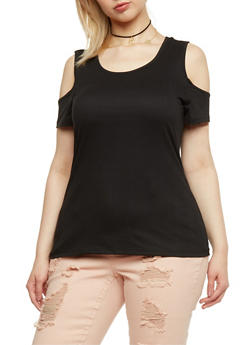 Plus Size Solid Cold Shoulder Top - 0915060580006
